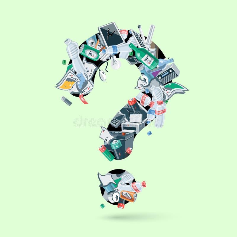 垃圾元素的例证形成一个废问号的 库存例证