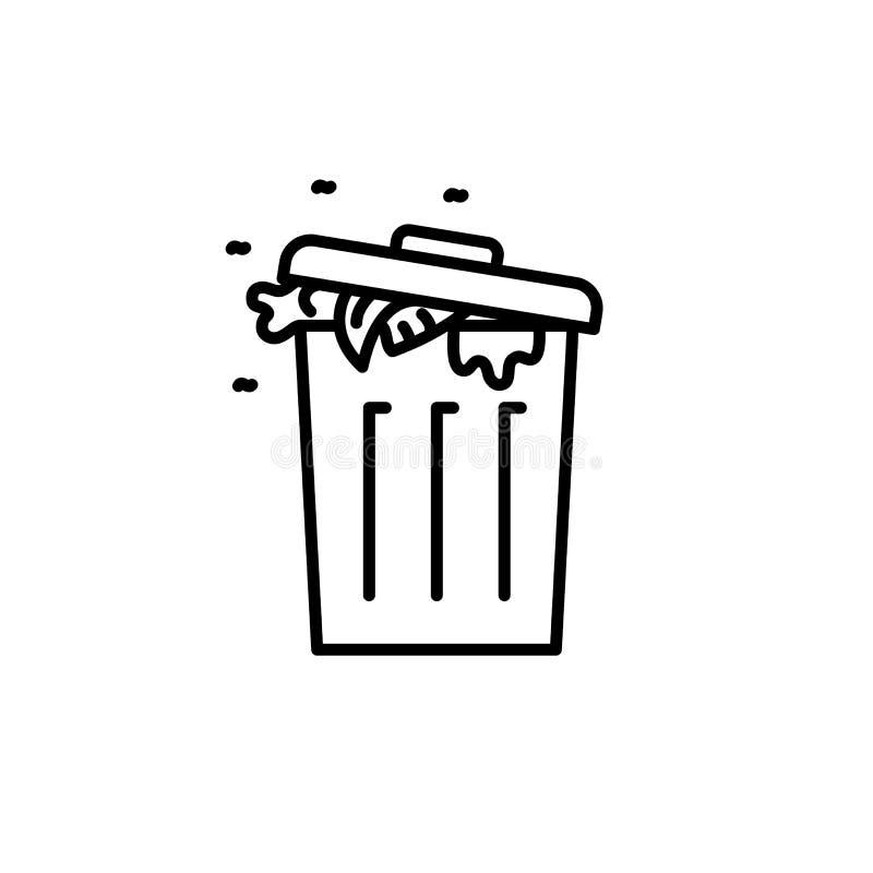 垃圾充分与土和飞行象 烹调的例证厨房器具 简单的稀薄的线型标志 向量例证