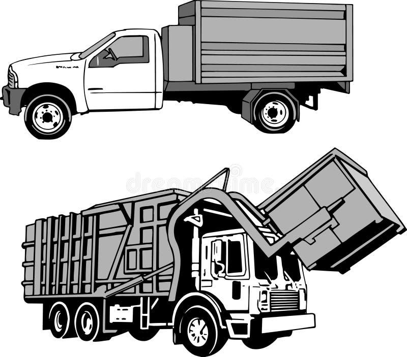 垃圾和大型垃圾桶卡车 库存照片