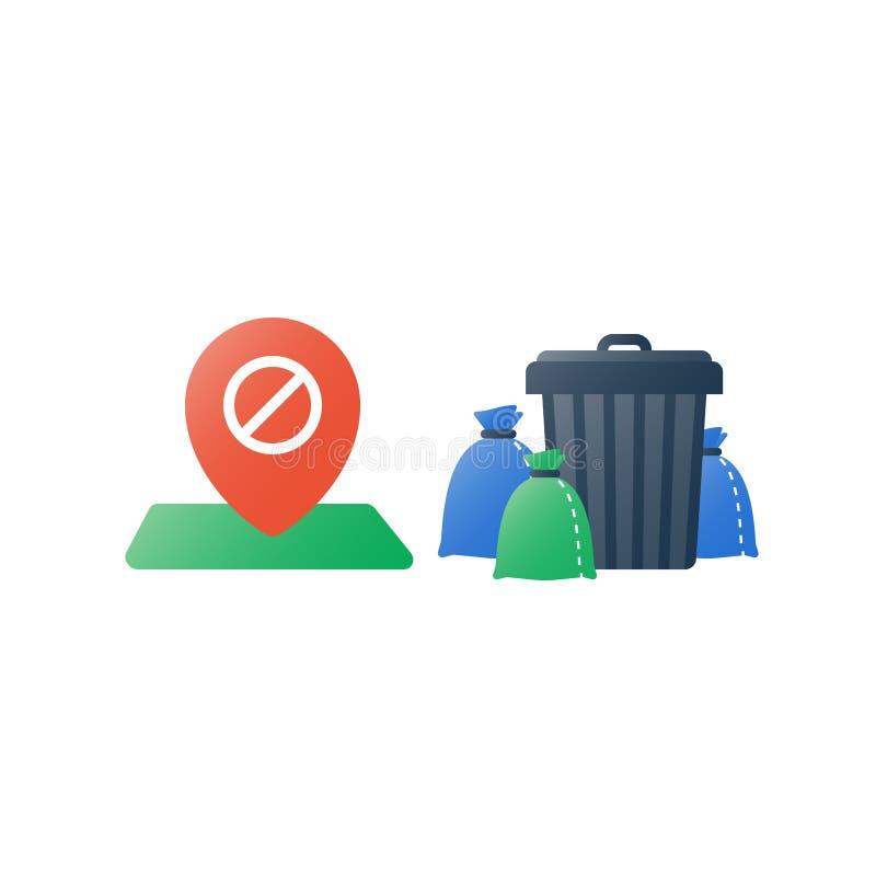 垃圾和容器,小组垃圾袋能,废弃物汇集,回收节目,禁止标志 皇族释放例证