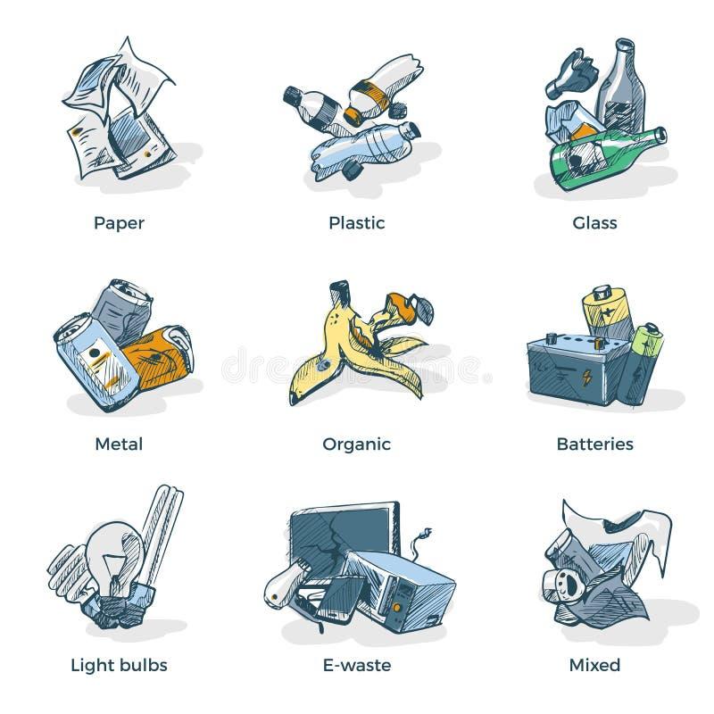 垃圾回收废物类别类型手图画  向量例证
