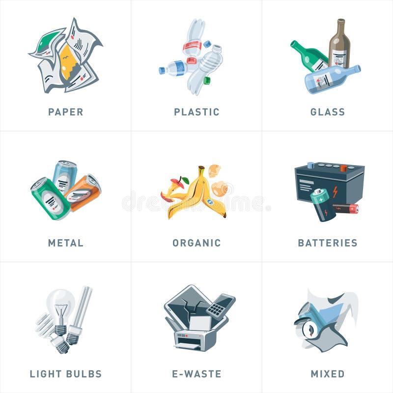 垃圾回收废物类别类型 皇族释放例证