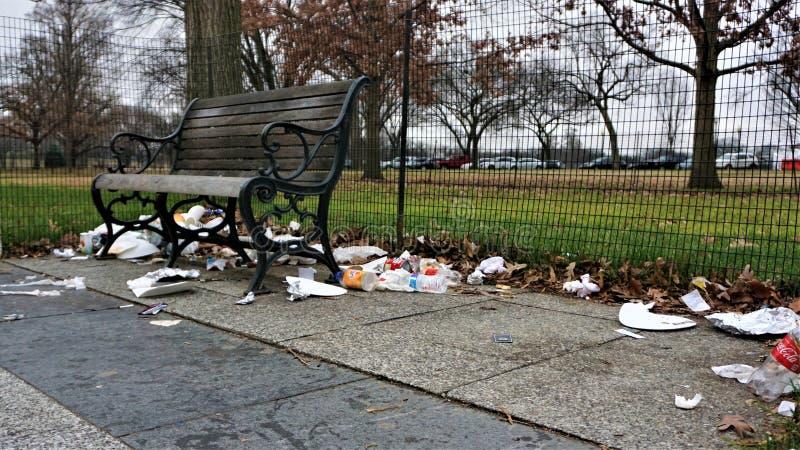 垃圾在国家广场积累 图库摄影