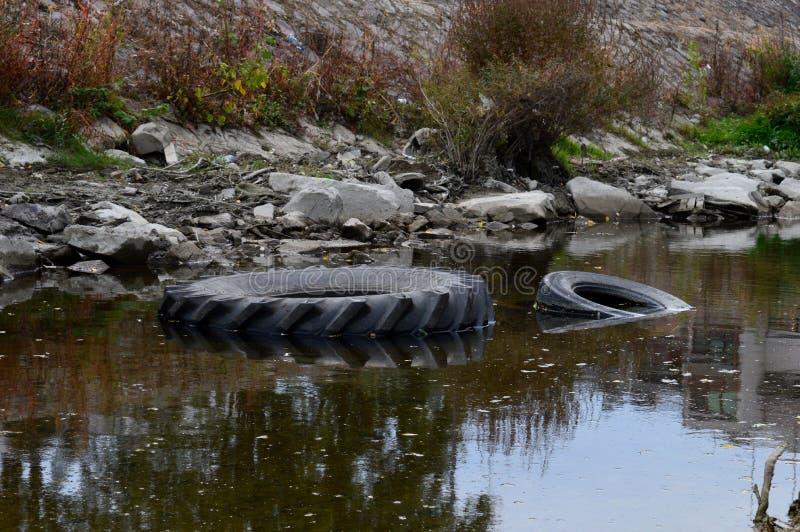 垃圾在河 库存图片