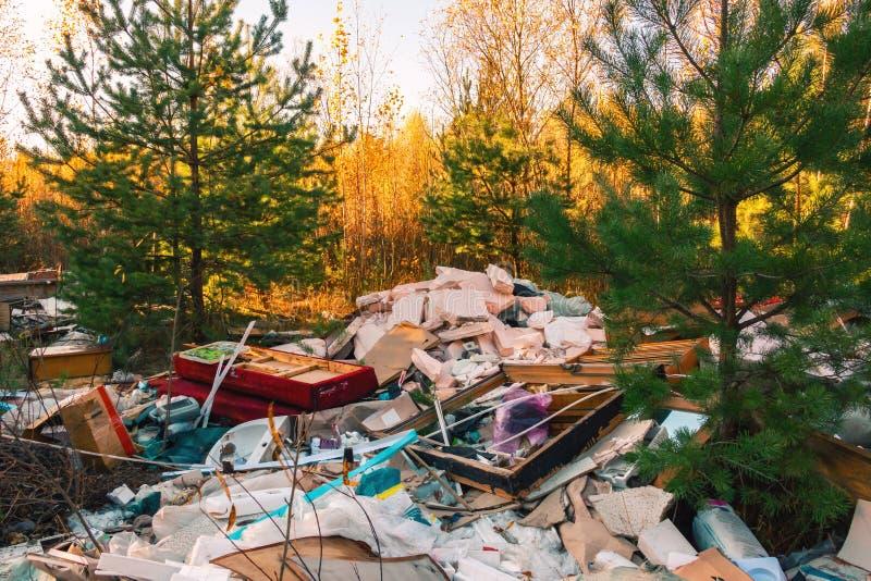 垃圾堆在森林里,坏生态 免版税库存图片