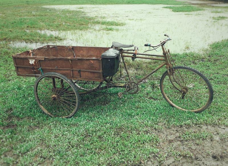 垃圾收集工三轮车在领域停放的轮转人力车 ?? 库存图片