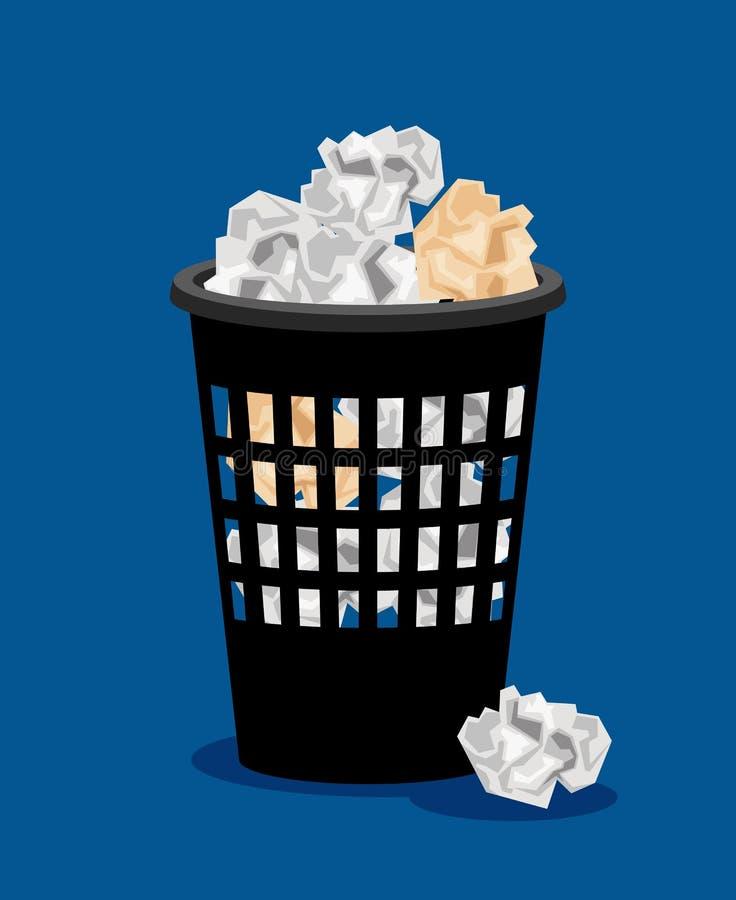 垃圾桶和被弄皱的纸传染媒介例证 库存例证