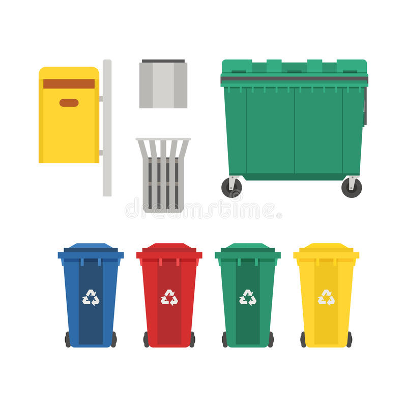 垃圾桶和被设置的垃圾箱 库存例证