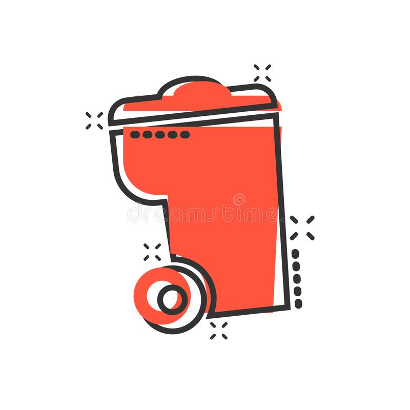 垃圾桶在可笑的样式的垃圾象 垃圾桶传染媒介动画片例证图表 垃圾篮子企业概念飞溅 库存例证