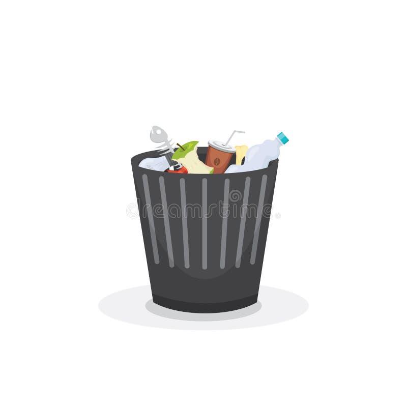 垃圾桶垃圾容器和垃圾桶回收标志传染媒介 皇族释放例证