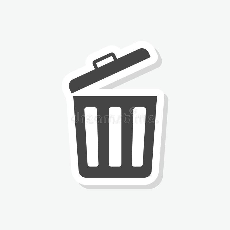 垃圾桶或垃圾箱标志贴纸,简单的传染媒介象 皇族释放例证