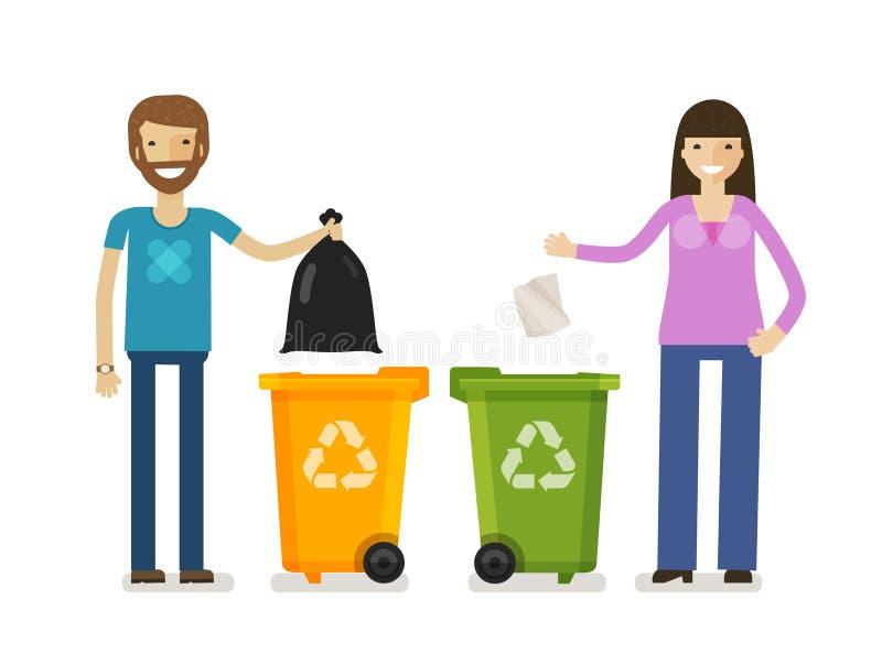 垃圾桶,在平的设计样式的垃圾箱 生态,环境标志,象 外籍动画片猫逃脱例证屋顶向量 向量例证
