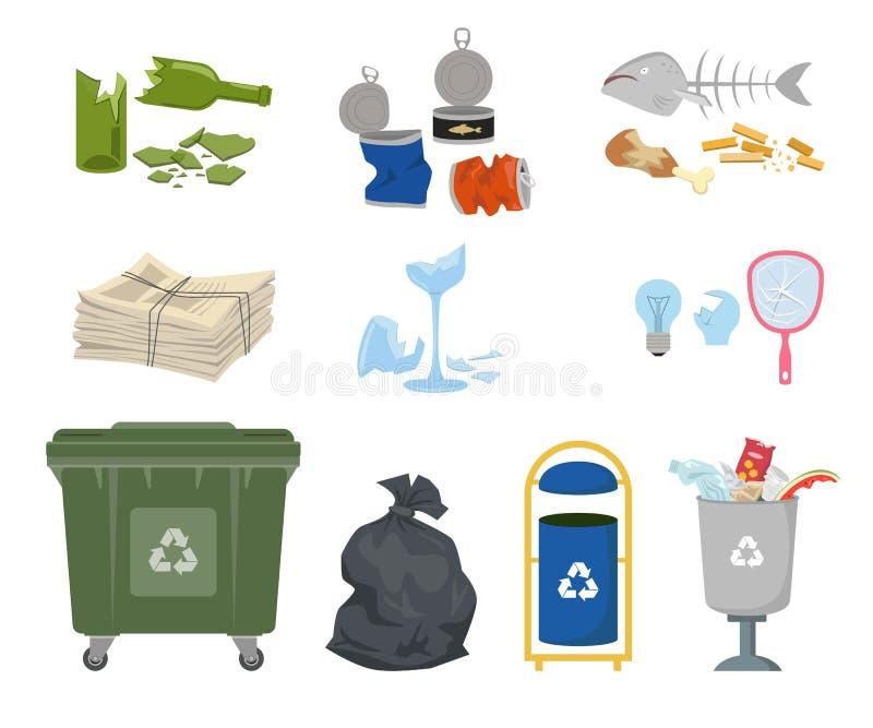 垃圾箱和垃圾在白色背景 库存例证