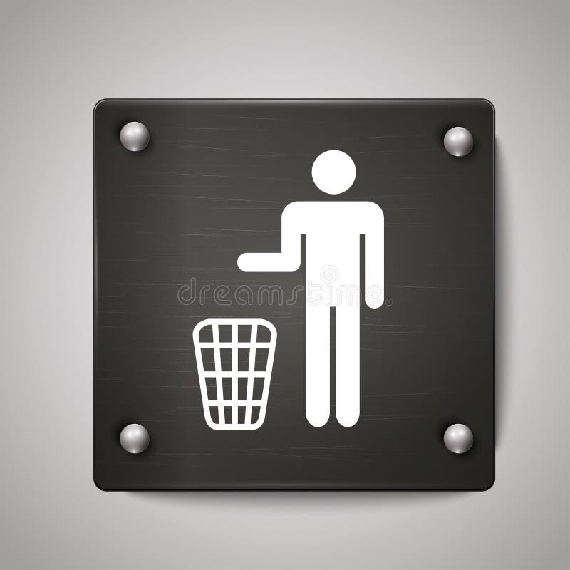 垃圾箱象标志有黑背景 皇族释放例证