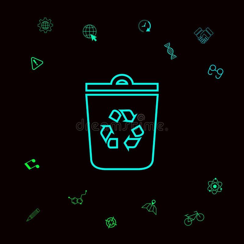 垃圾箱,回收站标志象 您的designt的图表元素 皇族释放例证