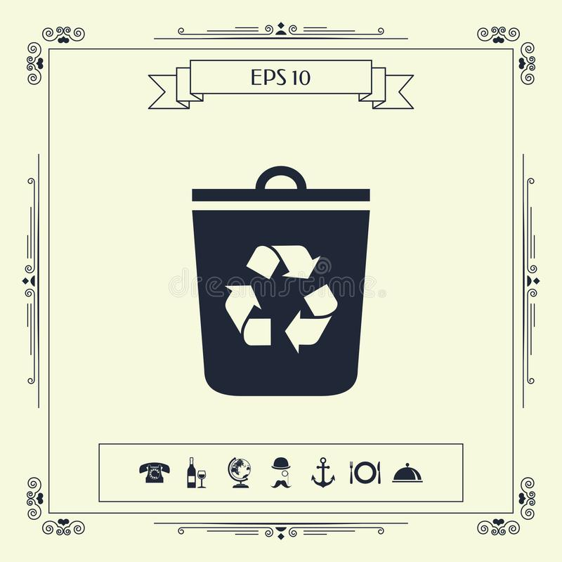 垃圾箱,回收站象 向量例证