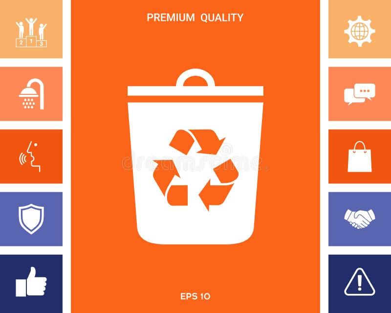 垃圾箱,回收站象 库存例证