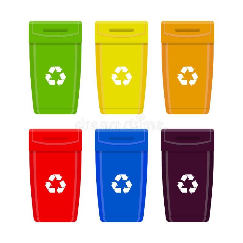 垃圾箱 垃圾不同的容器垃圾  在白色背景隔绝的传染媒介集合 库存例证
