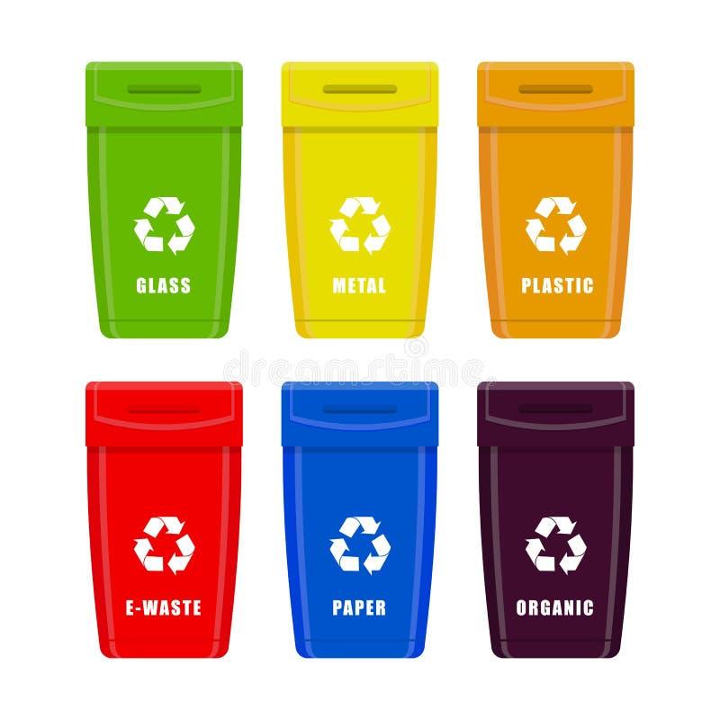 垃圾箱 垃圾的不同的类型的容器垃圾 在白色背景隔绝的传染媒介集合 库存例证