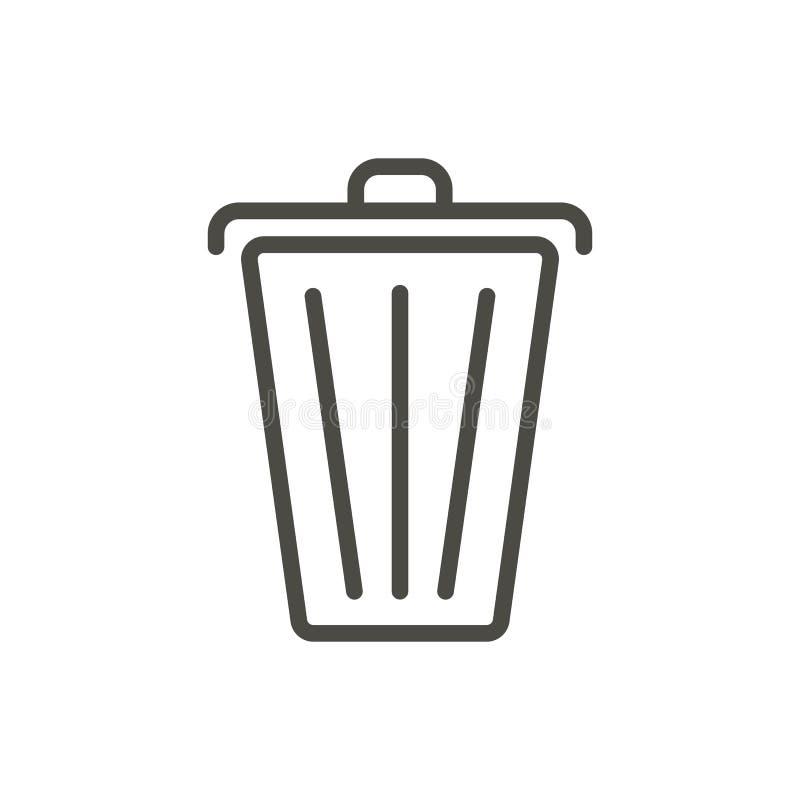 垃圾象传染媒介 线路删除标志 向量例证