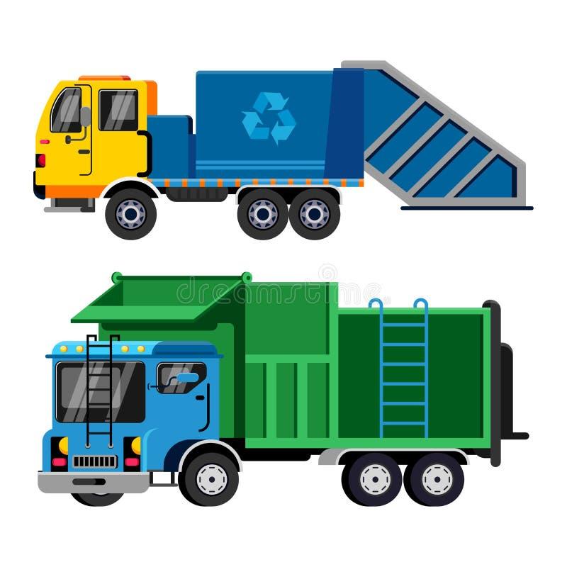 垃圾车传染媒介垃圾车回收废干净的服务搬运车汽车工业清洁的运输例证 向量例证