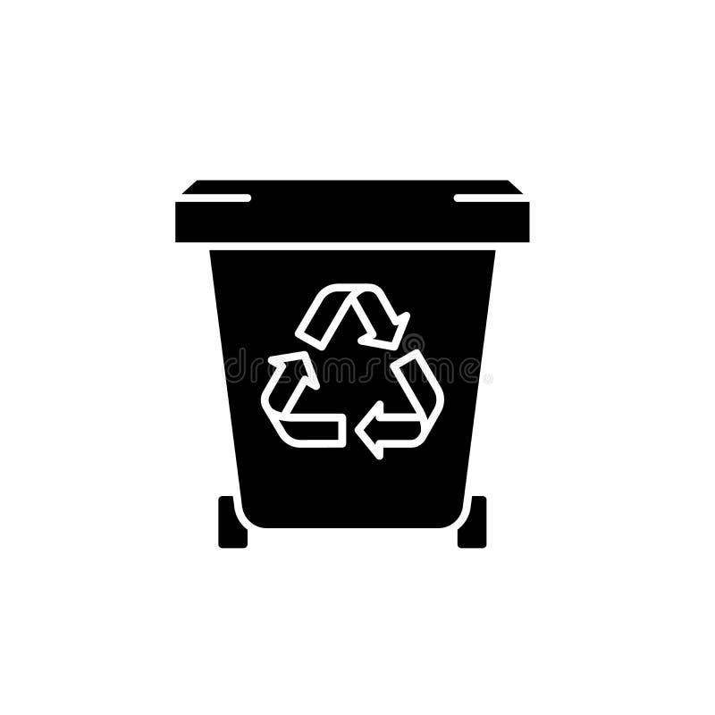 垃圾黑象,在被隔绝的背景的传染媒介标志 垃圾概念标志,例证 向量例证