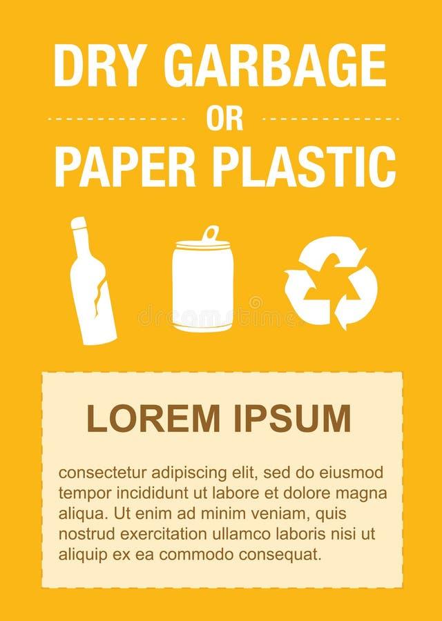 垃圾贴纸传染媒介,塑料瓶,塑料袋,垃圾传染媒介,回收站,黄色垃圾贴纸,横幅 库存例证