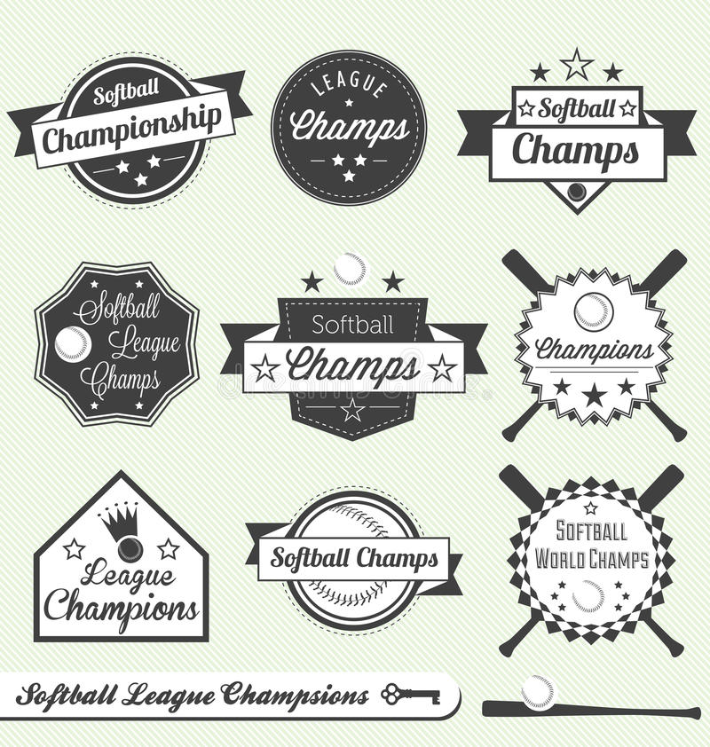 垒球同盟冠军和全明星标签 向量例证