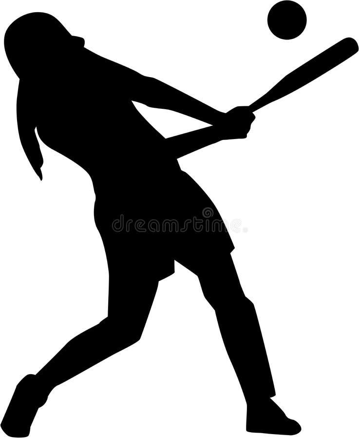 垒球面团妇女剪影 向量例证