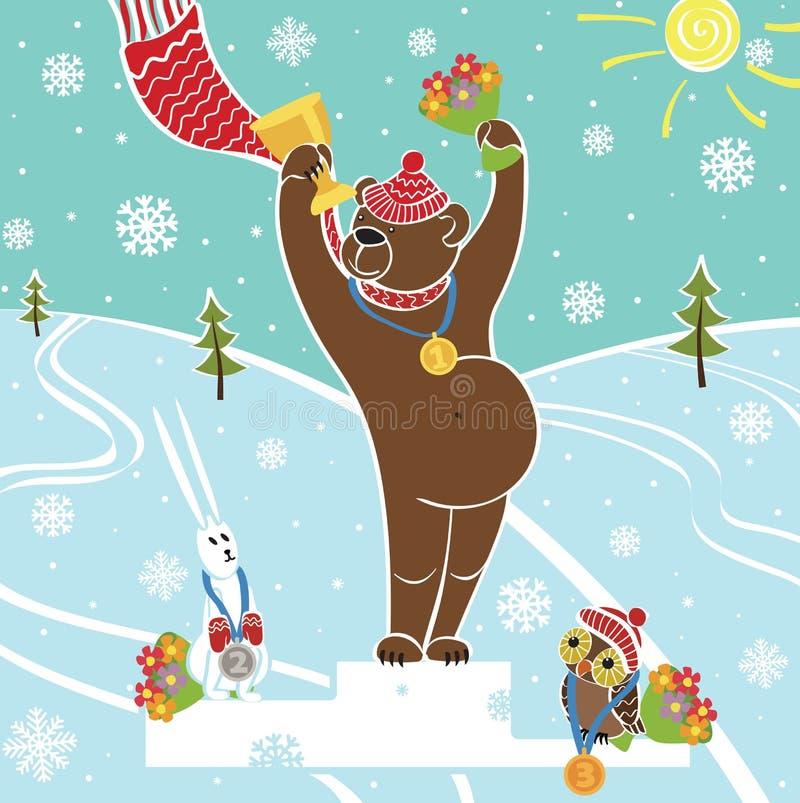 垫座的棕熊冠军。授予优胜者。冬天spo 库存例证