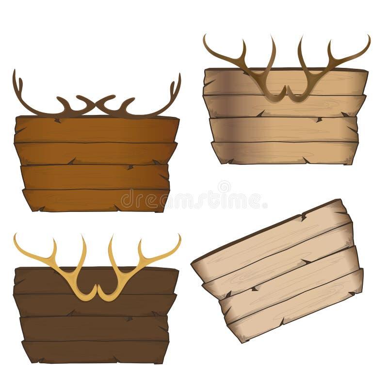 垫铁和木标志 皇族释放例证