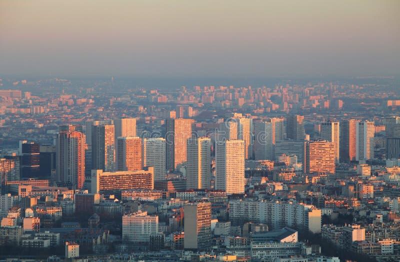埃佛尔铁塔在日落的-都市风景巴黎 库存照片