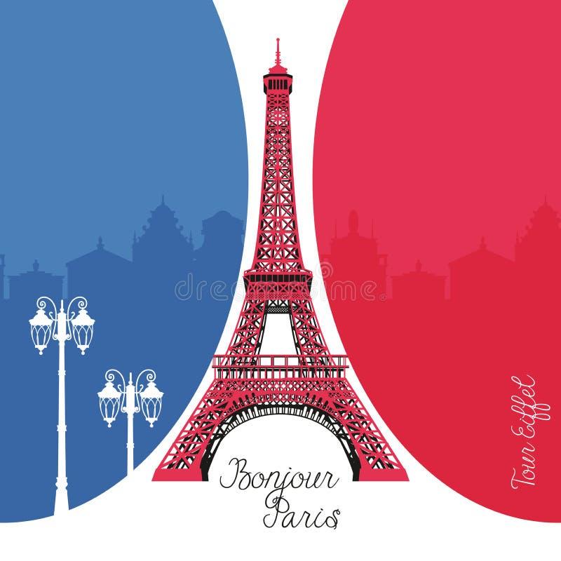 埃佛尔铁塔在法国旗子背景的巴黎 向量例证