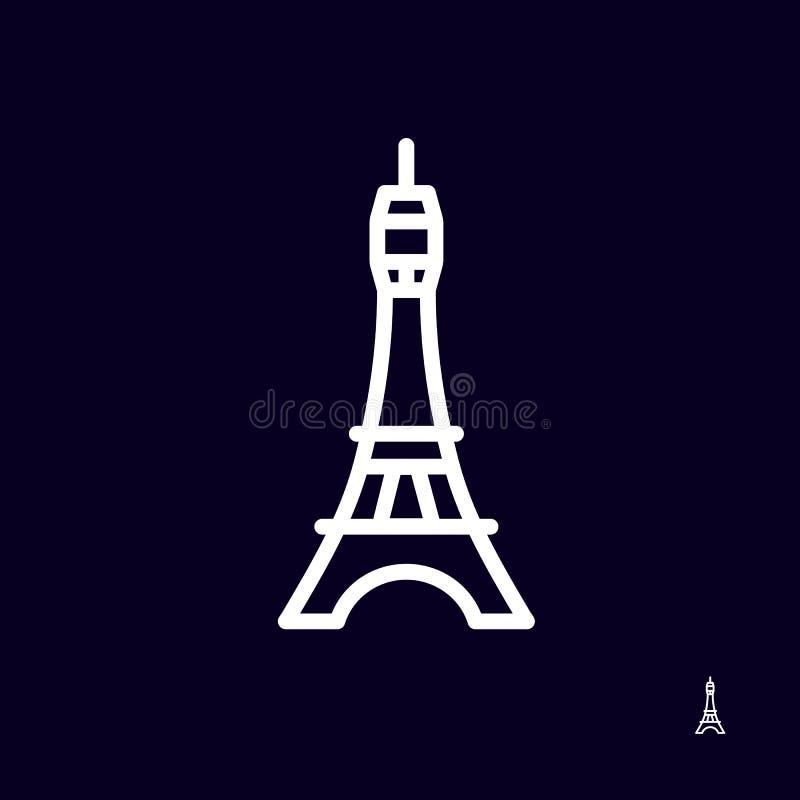 埃佛尔铁塔在黑暗的背景-被隔绝的传染媒介例证的象商标 被简化的设计 向量例证