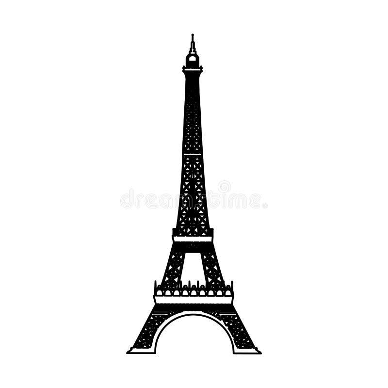 埃佛尔铁塔被隔绝的象 库存例证