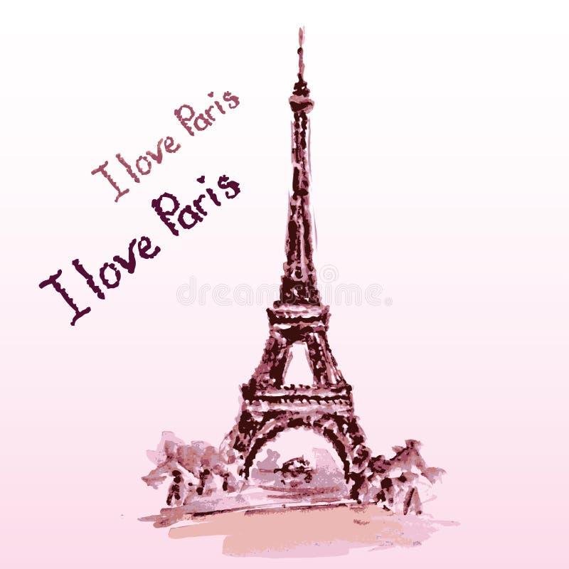 埃佛尔铁塔,字法,桃红色心脏 手拉的水彩装饰 向量例证