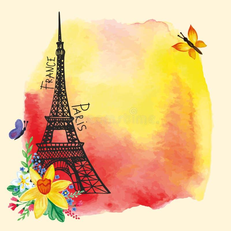 埃佛尔铁塔,水彩污点,水仙花束 向量例证
