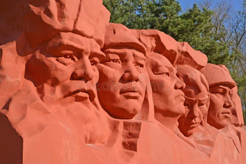 埃利斯塔,俄罗斯- 2017年4月22日:雕刻的composit的片段 库存图片