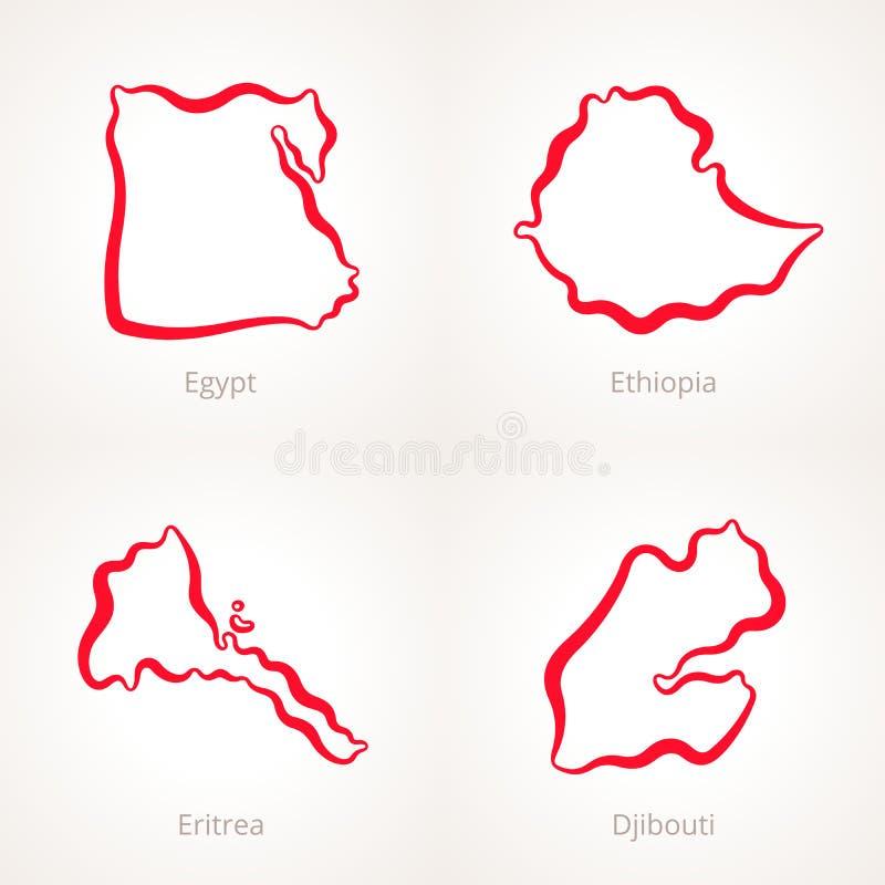 埃及、埃塞俄比亚、厄立特里亚和吉布提-概述地图 库存例证