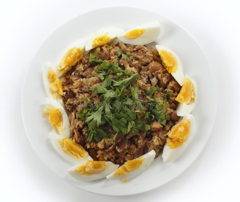 埃及不理智用煮沸的鸡蛋从上面 免版税库存照片