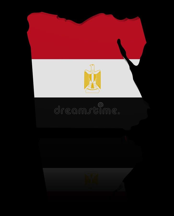 埃及与反射例证的地图旗子 库存例证