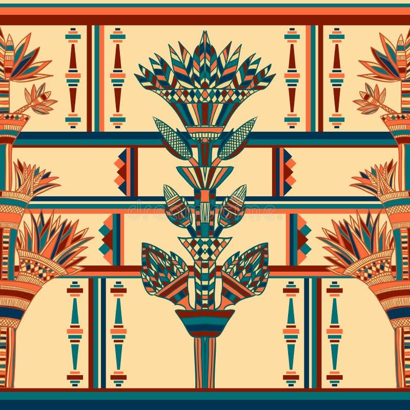 埃及五颜六色的装饰品 模式无缝的向量 库存例证