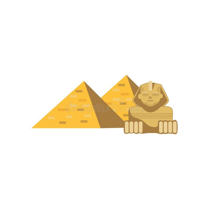 埃及伟大的金字塔和狮身人面象雕象,传统埃及文化动画片的标志导航例证 向量例证