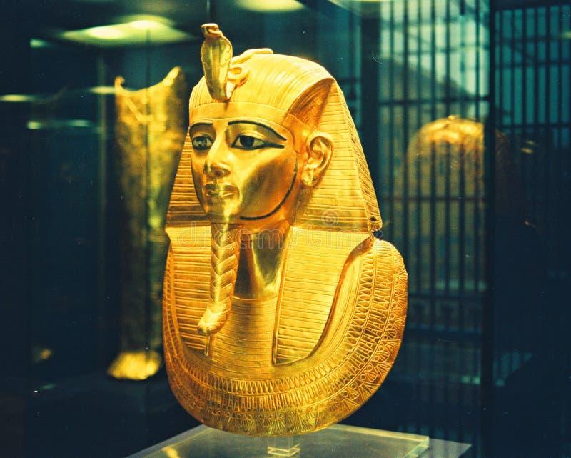 埃及博物馆金面具 免版税图库摄影