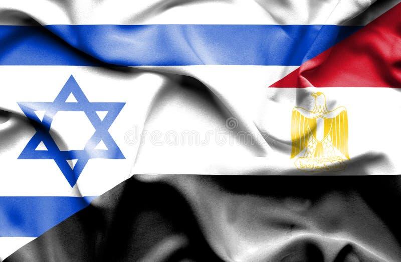 埃及和以色列的挥动的旗子 向量例证