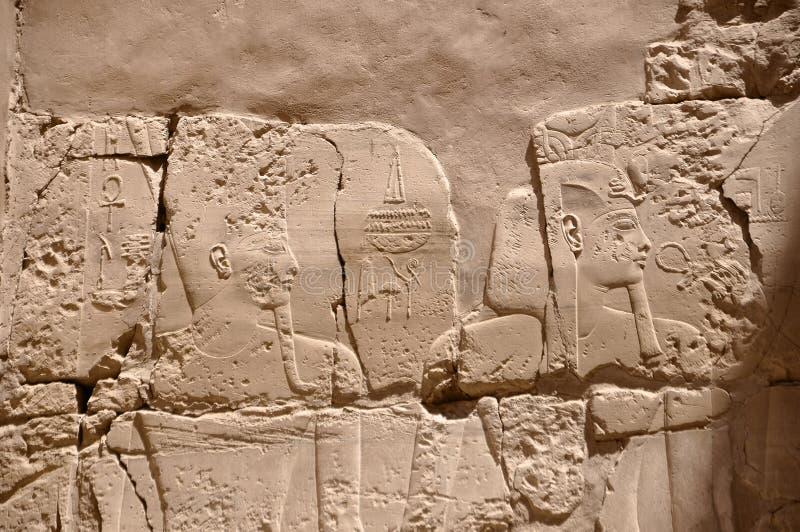 埃及在金字塔的法老王壁画 库存图片