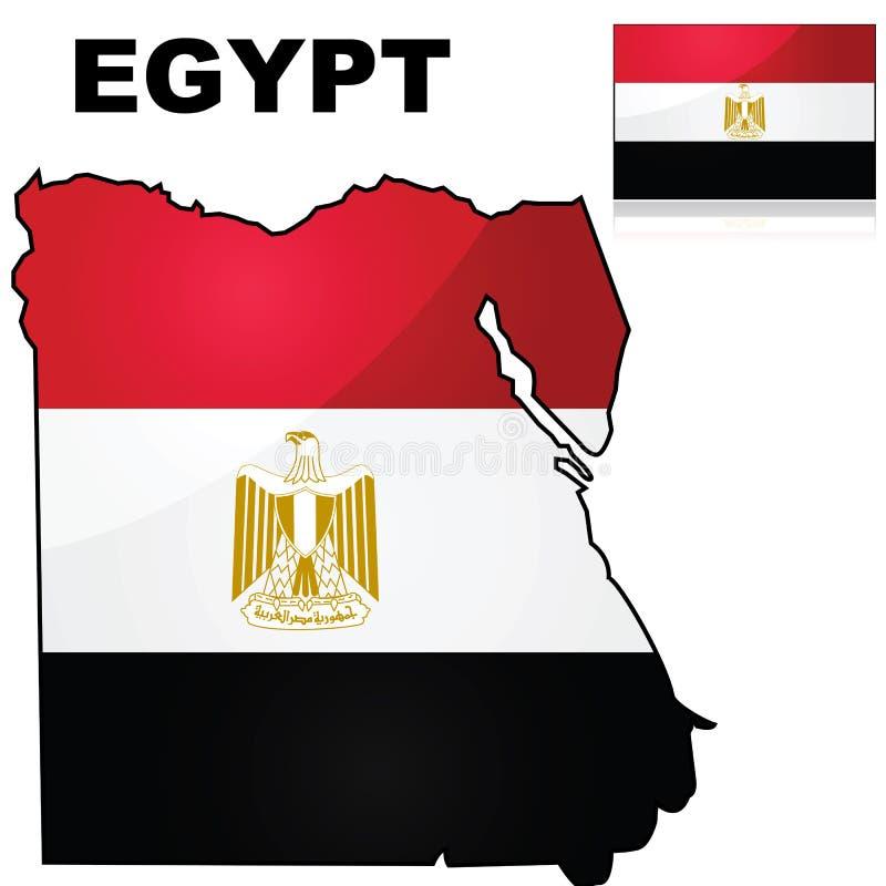 埃及地图和旗子 向量例证