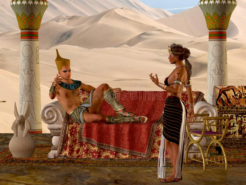 埃及夫妇和长凳 库存例证