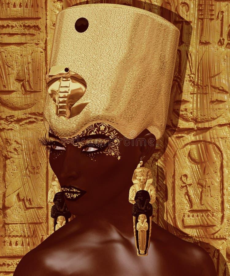 埃及女王/王后、法老王有金冠的, ureaus、蛇和美丽的面孔 向量例证