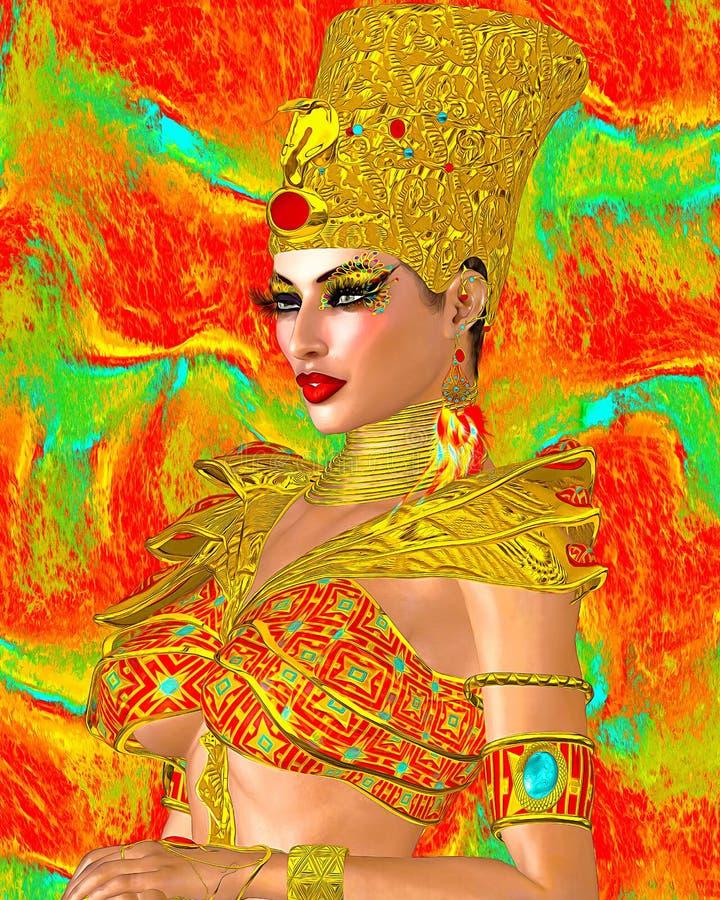 埃及女王/王后用金首饰和装甲装饰了 皇族释放例证